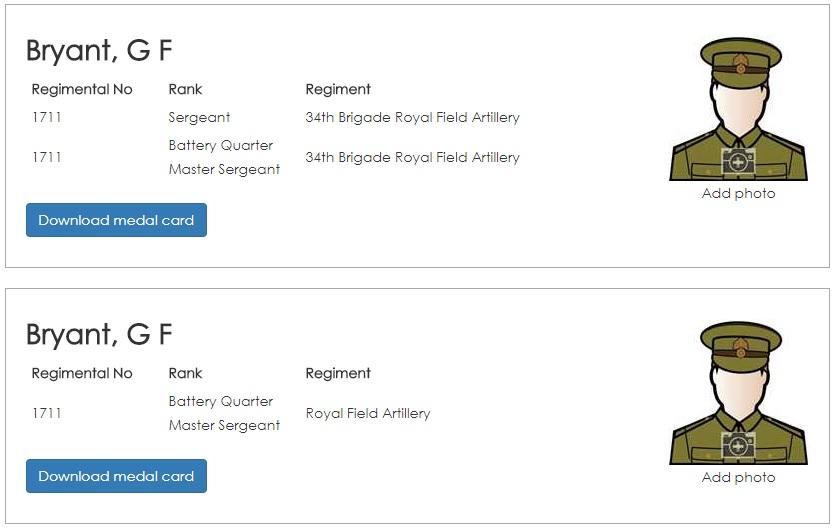 Duplicate records on British Army Ancestors
