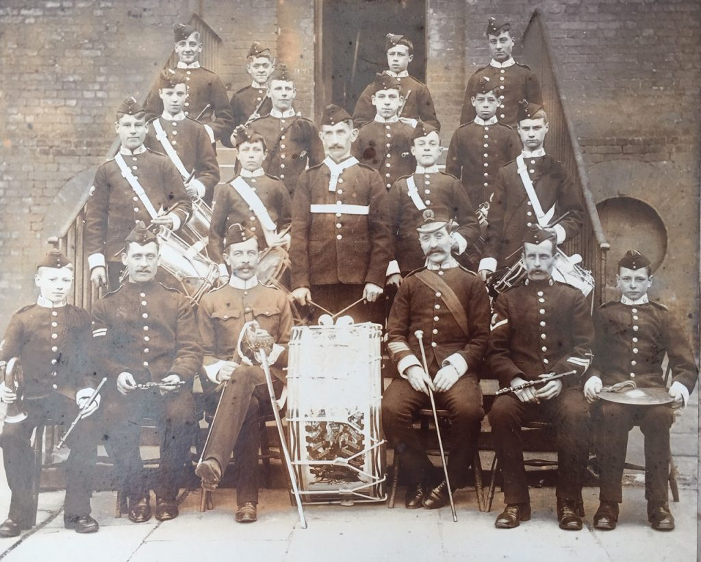Band boys, Middlesex Regiment, circa 1890s.